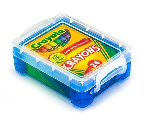 Crayola Crayons 24 Count with Blue Super Stacker Plastic Crayon Box Bundle