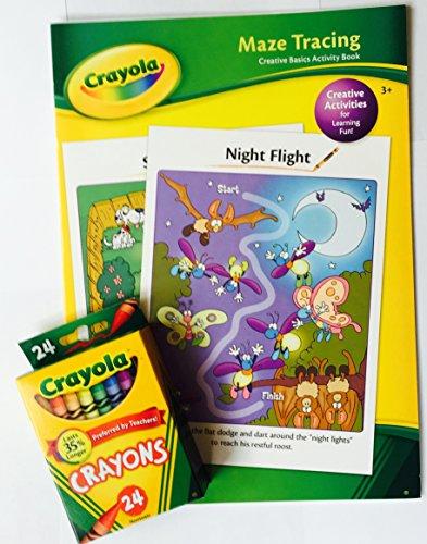 Crayola Creative Basic Activity Book Maze Tracing and Crayola 24 Count Crayons Bundle