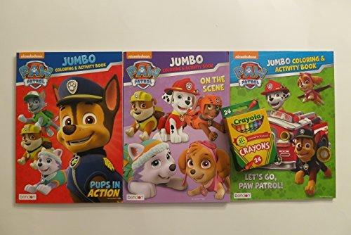 Paw Patrol Jumbo Coloring Activity Books Set  Crayola 24 Piece Crayons