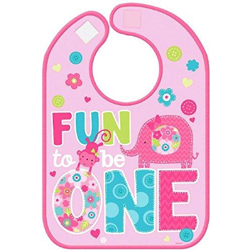 Amscan One Wild Girl 1st Birthday Vinyl Baby Bib 13 x 10 Pink