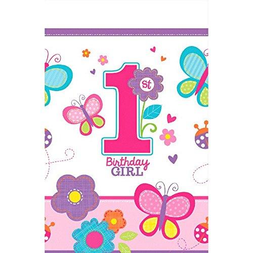Amscan Sweet Birthday Girl 1st Birthday Plastic Table Cover 54 x 102  PinkPurpleWhite