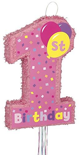 Girl 1st Birthday Pinata Pull String