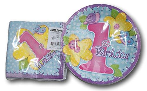 Girls 1st Birthday Party Supply Kit - Plates Napkins