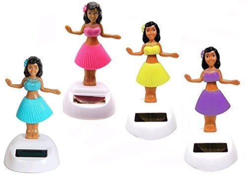 Set of 4 Hawaiian ALOLA Dancing Hula Girl 1 Blue 1 Pink 1 Yellow 1 Purple Solar Toy