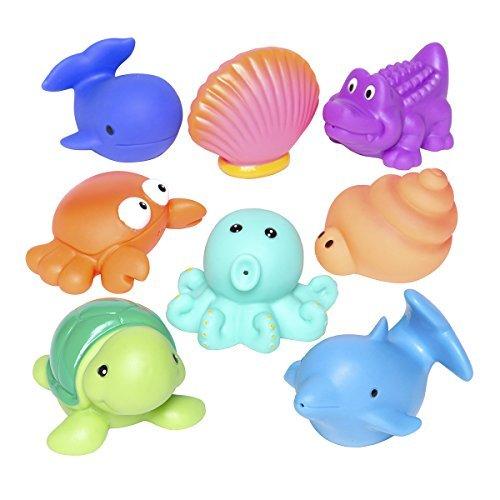 Elegant Baby Bath Time Fun Rubber Water Squirties Vinyl Zip Storage Bag Sea Party Set of 8 by Elegant Baby