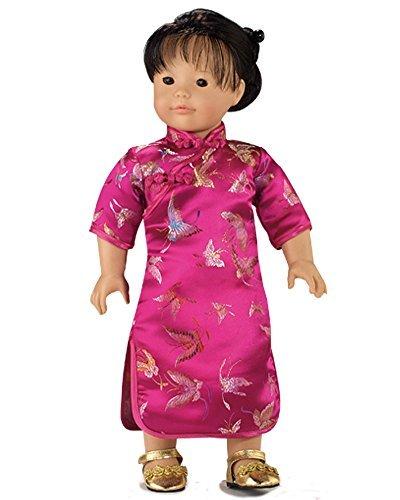 18 Inch Doll Dress Fuchsia Mandarin Dress Perfect for 18 Inch American Girl Doll Clothes More Fuchsia Mandarin Dress for 18 Inch Dolls Chinese New Year Doll Dress