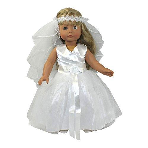 Arianna Doll Bridal  Communion Dress Veil Fits Most American 18 Inch Dolls