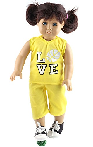 2 Piece American Doll Gymnastics Outfit Sports Clothes Team Foodball Shirts For 18 inch Girl Dolls Yellow Color
