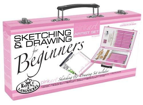 Royal Langnickel Pink Art Beginner Artist Sketching and Drawing Wood Box Set