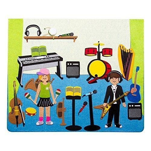 Sprogs Felt Storyboard - Rocking Music Studio w Instruments and Kids- 15 x 125