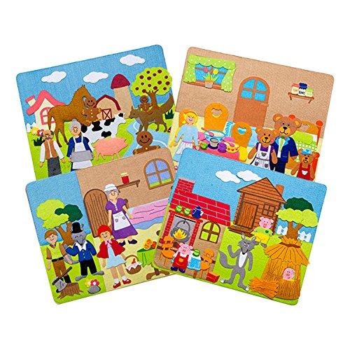 Sprogs SPG-ENA1021-SO  Felt Storyboards with Storage Bag 3 Little Pigs Gingerbread Man Goldilocks Grade Kindergarten to Kindergarten 125 x 15 Size Red Riding Hood