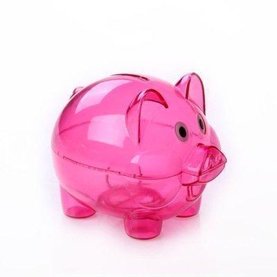 CINRAÂ Transparent Cute Rose Red Pig Piggy Bank Cartoon Toy Bank Money Market Coin Box Money Saving Box Kids Gift