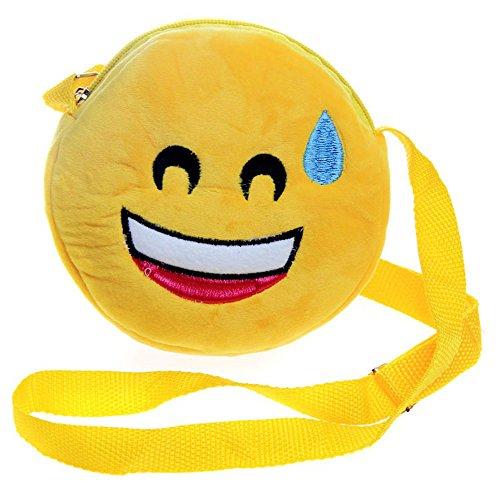 Cute Emoji Face Plush Bag Coin Purse Mini Crossbody Bag -Wallet Plush Stuffed Toys Change Purse Kids Gift
