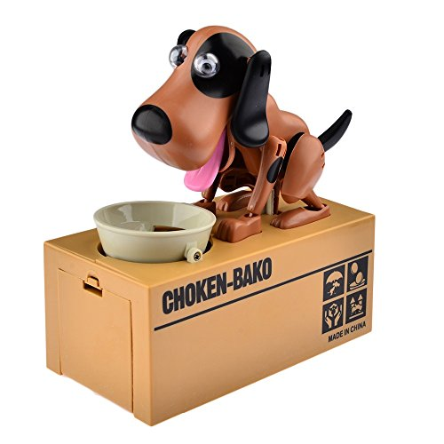 Cestlafit Cute Choken Bako Puppy Hungry Eating Dog Coin Bank Doggy Coin Bank Dog Piggy Bank Coin Munching Toy Money Box Brown