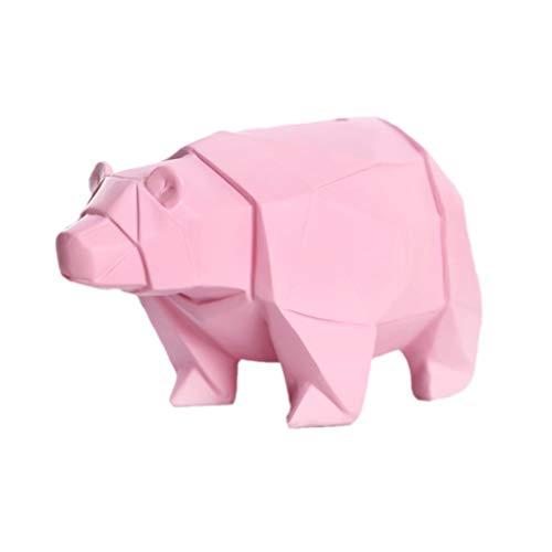 LIOOBO Home Decor Adorable Polar Bear Shape Stylish Design Coin Bank Money Saving Bank Toy Bank Cents Penny Piggy Pink