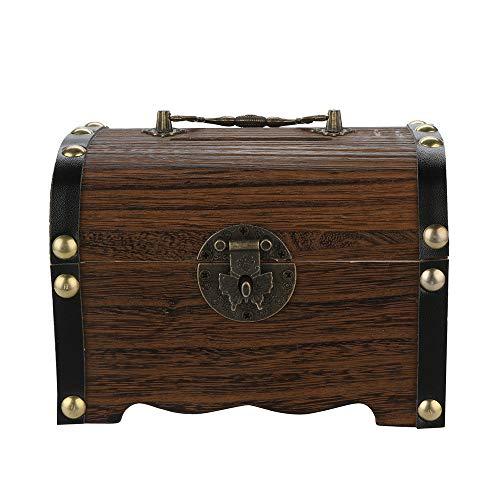 Money Bank 55x39x39 Inch Wood Coin Bank Safe Piggy Bank KidsAdults Mini Money Bank Reasure Chest Design Handmade Wooden Treasure Box Keepsake Box Toy Money Saving Box Coin Holder Gifts Brown