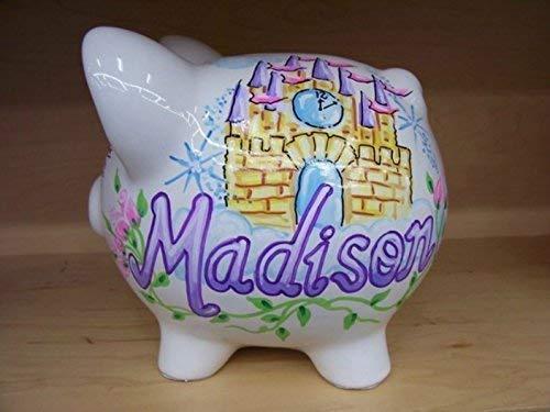Personalized Handpainted Princess Castle Design Piggy Bank
