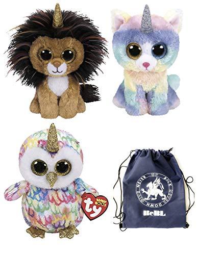 ReBL LLC TY Stuffed Plush Animals Toys Beanie Boos Lion Ramsey Cat Heather and Owl Enchanted Unicorns with Drawstring Bag