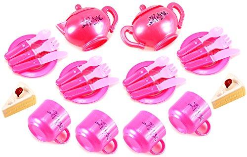 Pretty Girl Pretend Play Childrens Kids Toy Tea Set w Cups Tea Pot Plates Utensils