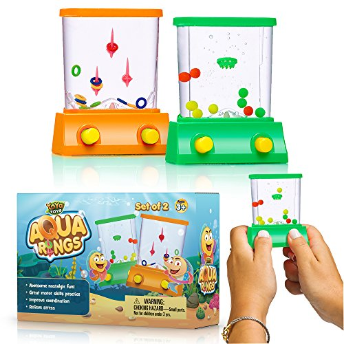 YoYa Toys Handheld Water Game 2 Pack Set of a Fish Ring Toss and a Basketball Aqua Arcade Toy in 2 Compact Mini Retro Pastime for Kids and Adults in a Gift Box