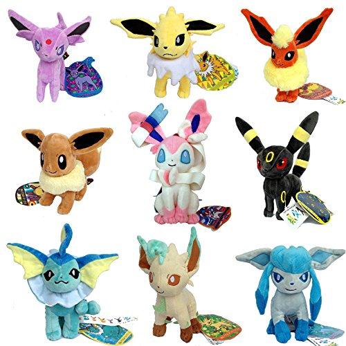 9 PCS Eeveelution Pokemon Sylveon Eevee Espeon Umbreon Jolteon Flareon Vaporeon Leafeon Glaceon Plush Toy Stuffed Animal Soft Figure Doll 7