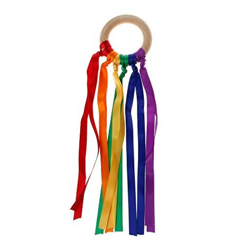VIccoo Rainbow Natural Wooden Ribbon Ring Baby Teether Born Sensory Toy Shower Gift - E