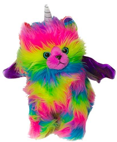 Kitchi Kitten Rainbow Stuffed Animal Plush Toy Fun Colorful Kitten Unicorn With Light Purple Wings