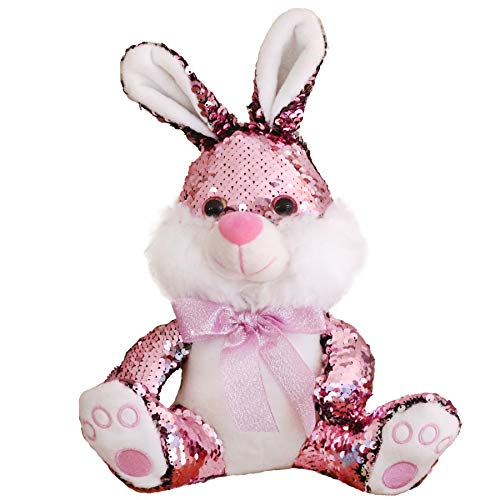 Athoinsu Sequin Stuffed Easter Bunny with Reversible Sparkle Sequins Glitter Rabbit Plush Toy for Toddler Kids Spring Festival Pink