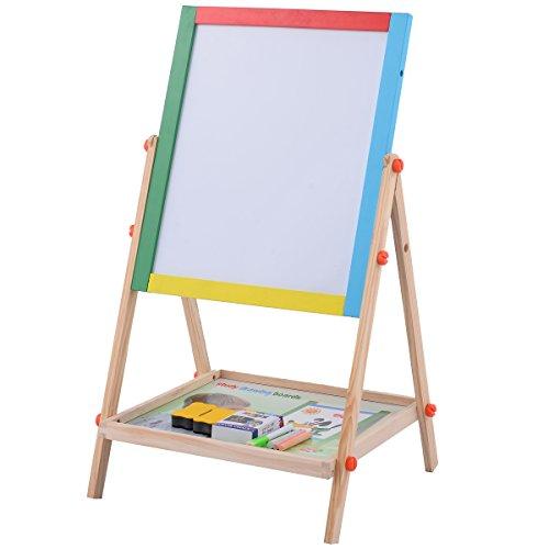 Costzon 2 In 1 Kids Easel Adjustable Wooden Chalk Drawing Board Standing BlackWhite