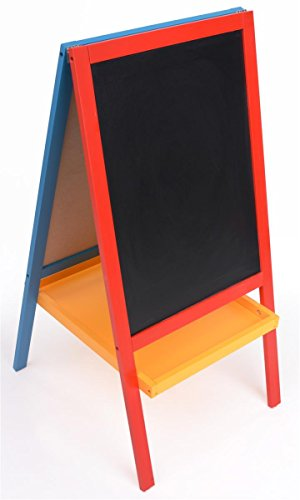 Displays2go Double-Sided Kids Easel with Black Chalk Board and White Marker Board Painted Wood
