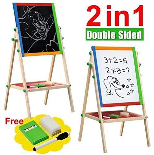 Large Adjustable Children Kids 2 In 1 Black White Wooden EaselDrawing Board