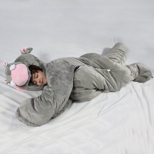SnooZzoo Hippo childrens stuffed animal sleeping bag GIANT 60 inches tall