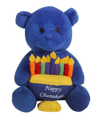 Blue Hanukkah Teddy Bear with White Menorah Happy Chanukah Stuffed Teddy