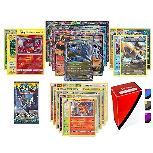Pokemon EX Guarantee with Booster Pack 5 Rare Cards 5 HoloReverse Holo Cards 20 Regular Pokemon Cards and Totem Deck Box
