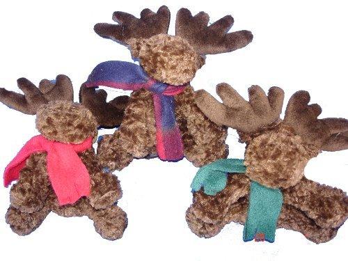 Adorable Miniature Super Soft Holiday Plush Floppy Moose 7 Christmas Stuffed Animal Toy  Set of 3 Pcs