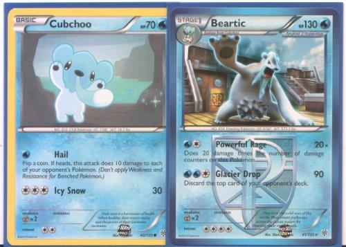 Beartic and Cubchoo - Rare Pokemon Card Evolution Set Plasma Storm 40 and 41