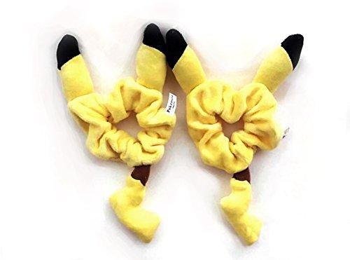 FinexSet of 2 Pokemon Yellow Male Pikachu 3D Ear Tail Plush Ponytail Holder Bracelet Hair Accessories