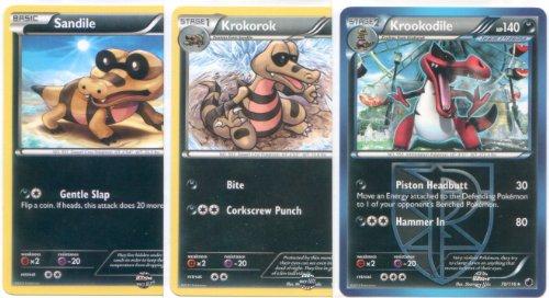 Krookodile Krokorok and Sandile - Rare Pokemon Card Evolution Set Plasma Freeze 68 69 and 70