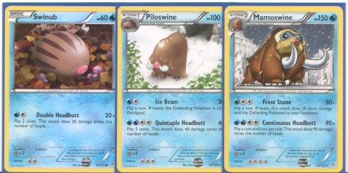 Mamoswine Piloswine and Swinub - Rare Pokemon Card Evolution Set Plasma Storm 26 27 and 28
