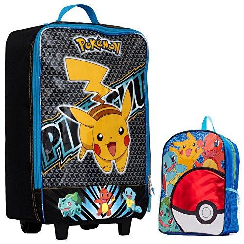 Pokemon Kids 2 Piece Travel Set - Pikachu Pilot Case Luggage and 16 Backpack