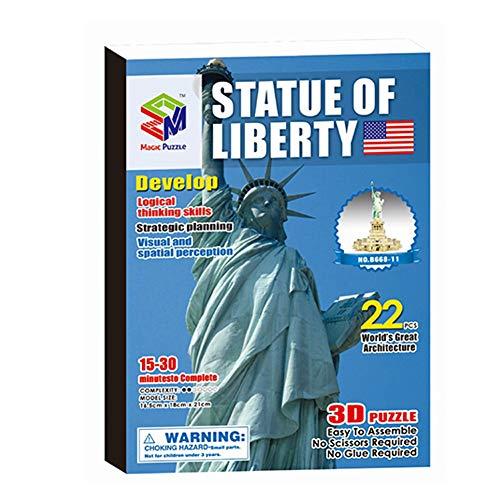 HUAhuako 3D World Jigsaw Puzzle World Famous Construction Model Kit DIY Craft Educational Toy 09Statue of Liberty
