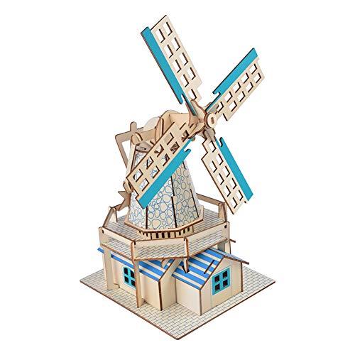 Wooden Puzzl Construction Model Kits DIY Kid 3D Puzzle Wooden Accessory Dutch Windmill Model Assembled Jigsaw Intelligent Toy