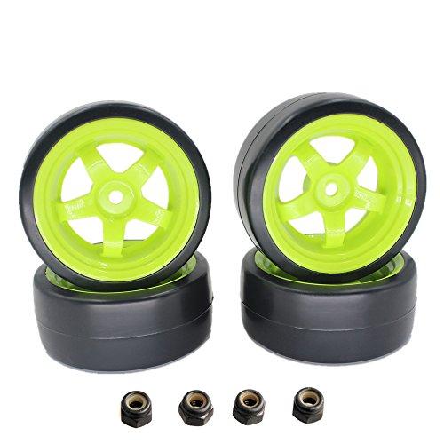 Hard Plastic 26mm RC Drift Car Tires Wheel Rims Green 12mm Hex For 110th Model Pack of 4