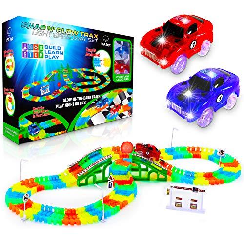 USA Toyz Glow Race Tracks for Boys and Girls - 360pk STEM Building Glow in The Dark Flexible Rainbow Race Track Set w 2 Light Up Toy Cars