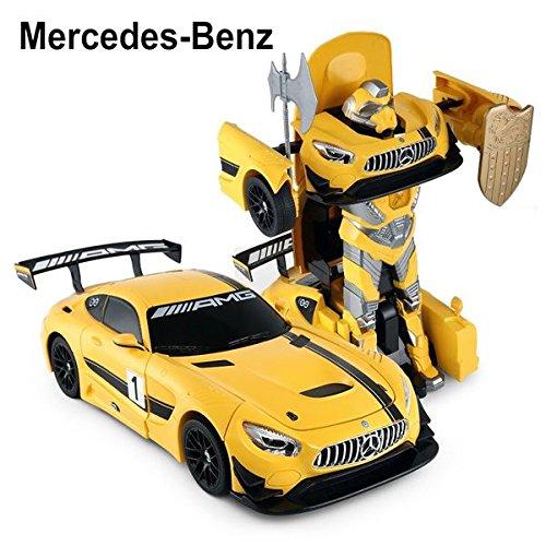 24Ghz Radio Control 114 Mercedes-AMG GT3 Transformers Model RC Car Robot Yellow