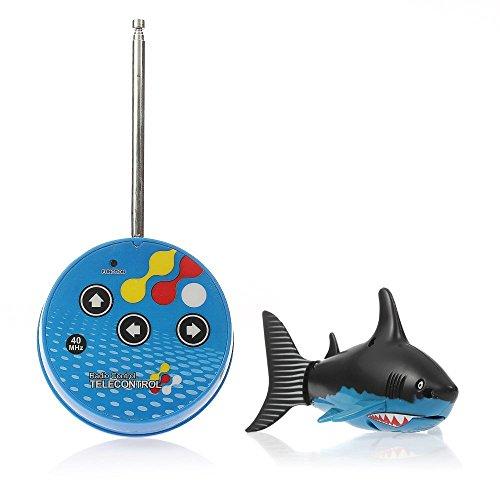 eSmart Rc Radio Remote Control Mini Electrical Shark Fish Kids Water Game Toy Children Gift Blue Black
