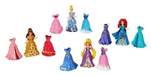 Disney Princess Little Kingdom Magiclip Fashion Gift Set - Includes Belle Merida Cinderella Rapunzel Dolls - 16 Pc Set 4 Dolls 12 Magiclip Dresses