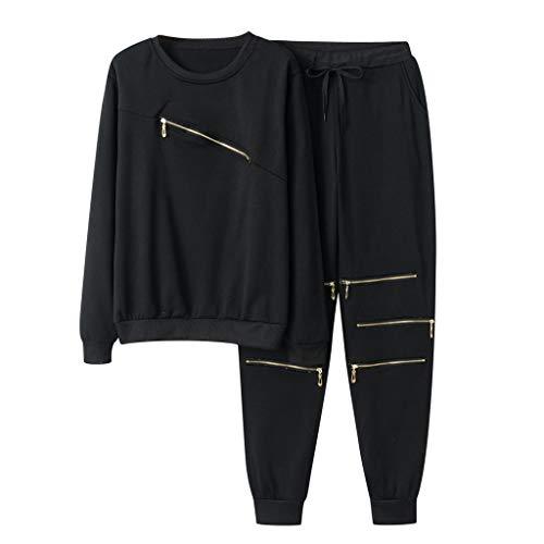 HHoo88 Women Tracksuit Set Decor Zip Sweatshirt and Long Pant 2 Piece Outfits Tops Blouse Pullover Sweatpants Jogger Set Black
