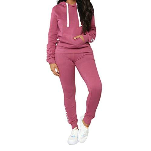 Pongfunsy Women Pullover Hoodie Pockets Sweatpants Sport Jogger Sweatsuit Pullove Sport TopsLong Pants Set Pink