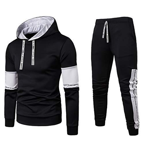 haoricu Men Long Sleeve Jogging Suit Pullover Hoodie Tracksuit Sport Set Casual Comfy Sweatsuit with Pockets (Black,XXL)